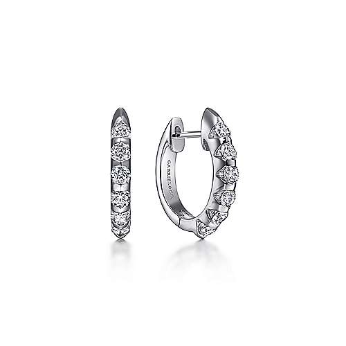 14K White Gold 10mm Round Classic Diamond Huggie Earrings
