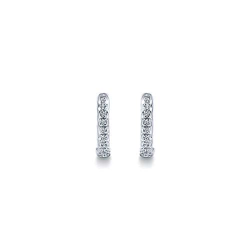 14K White Gold 10mm Round Diamond Huggies