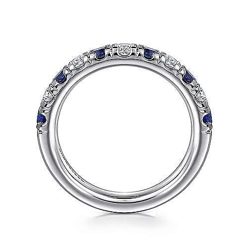 14K White Gold 11 Stone Diamond and Sapphire Anniversary Band