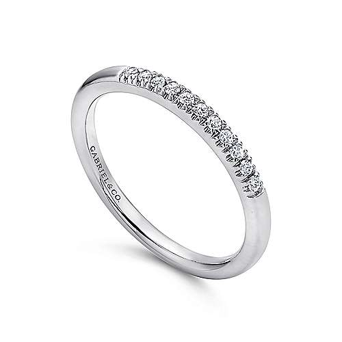 14K White Gold 11 Stone French Pavé Diamond Wedding Band