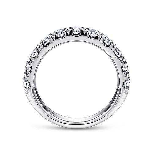 14K White Gold 11 Stone French Pavé Set Diamond Wedding Band