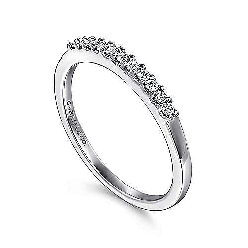14K White Gold 11 Stone Shared Prong Diamond Wedding Band