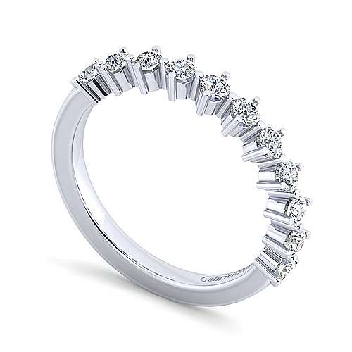14K White Gold 11 Stone Single Prong Diamond Anniversary Band