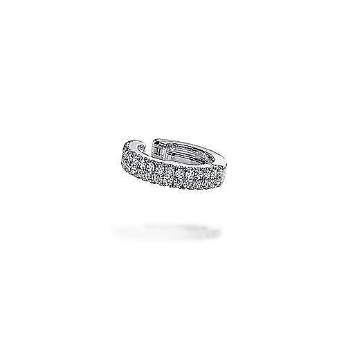 14K White Gold 15MM Diamond Earcuff Earring