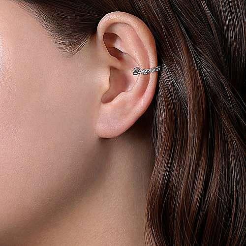 14K White Gold 15MM Diamond Earrings