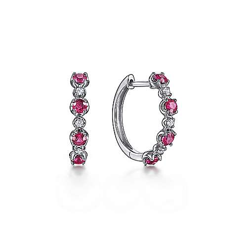 14K White Gold 15MM Diamond and Ruby Earrings