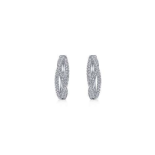 14K White Gold 15MM Fashion Earrings
