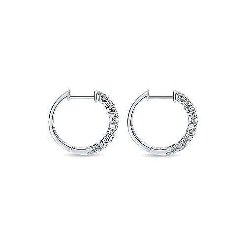 14K White Gold 15mm Classic Diamond Huggie Earrings