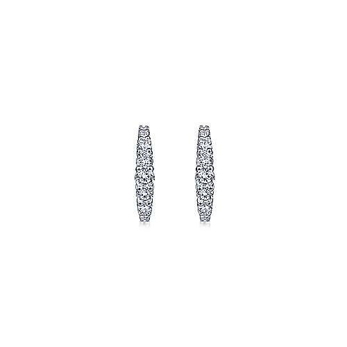 14K White Gold 15mm Classic Diamond Huggie Earrings