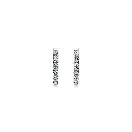 14K White Gold 15mm Classic Diamond Huggies