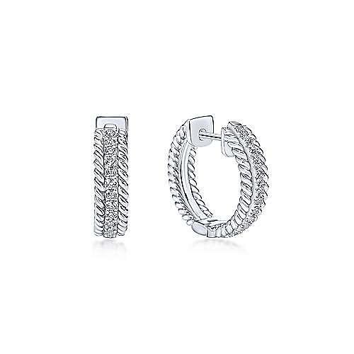 14K White Gold 15mm Diamond Huggies