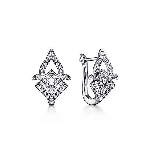 14K White Gold 15mm Intricate Diamond Huggie Earrings