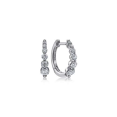 14K White Gold 15mm Round Diamond Huggies