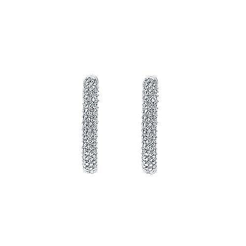 14K White Gold 15mm Round Inside Out Diamond Hoop Earrings