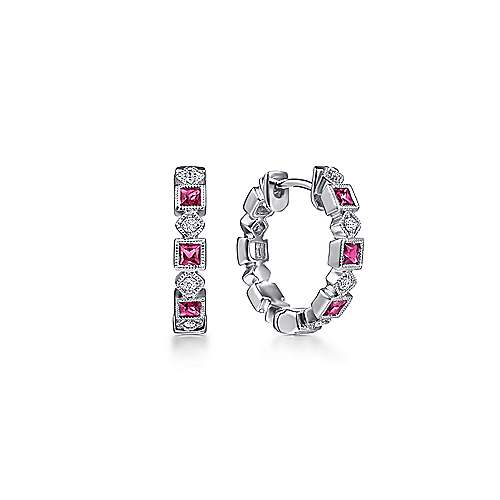 14K White Gold 15mm Ruby and Diamond Huggie Earrings
