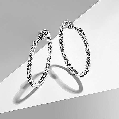 14K White Gold 20MM Fashion Earrings