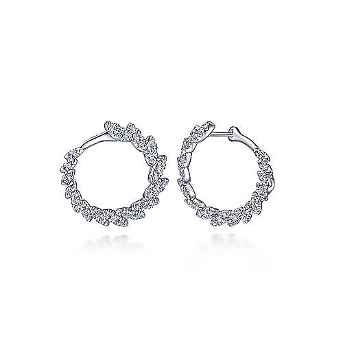 14K White Gold 20MM Fashion Earrings