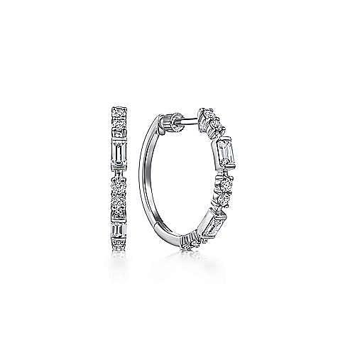 14K White Gold 20mm Classic Diamond Hoop Earrings