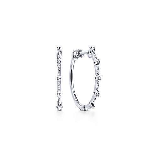 14K White Gold 20mm Classic Diamond Station Hoop Earrings