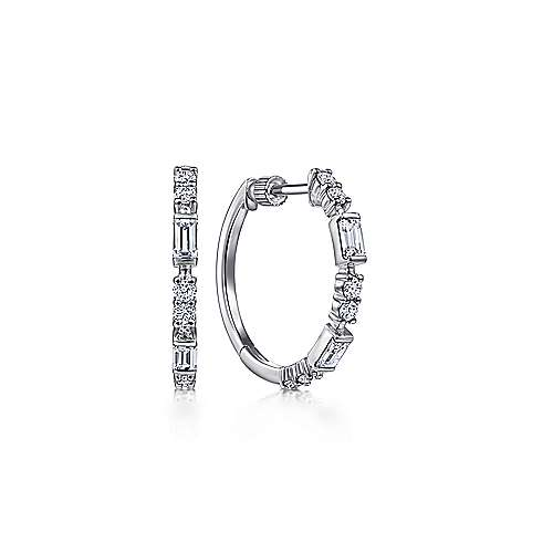14K White Gold 20mm Diamond Hoop Earrings