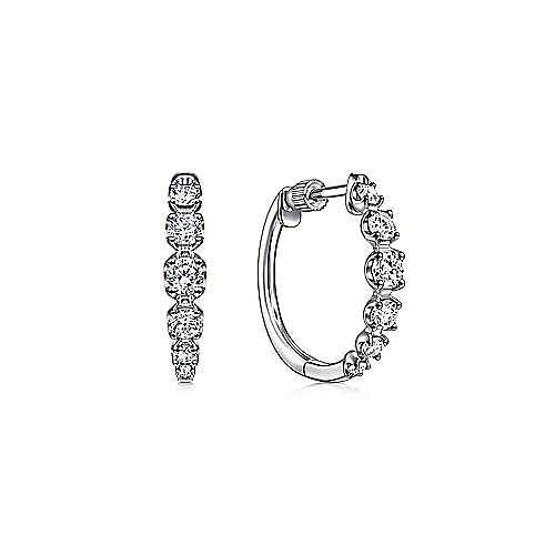 14K White Gold 20mm Round Classic Diamond Hoop Earrings