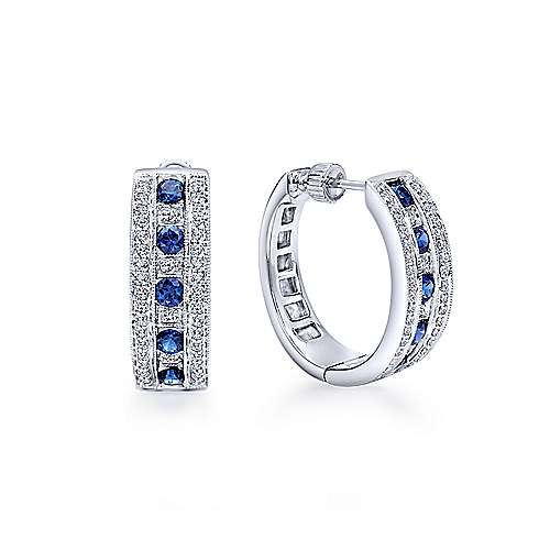 14K White Gold 20mm Round Classic Prong/Channel Set Diamond & Sapphire Hoop Earrings