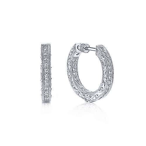 14K White Gold 20mm Round Inside Out Prong Set Diamond (0.75ct.) Hoop Earrings