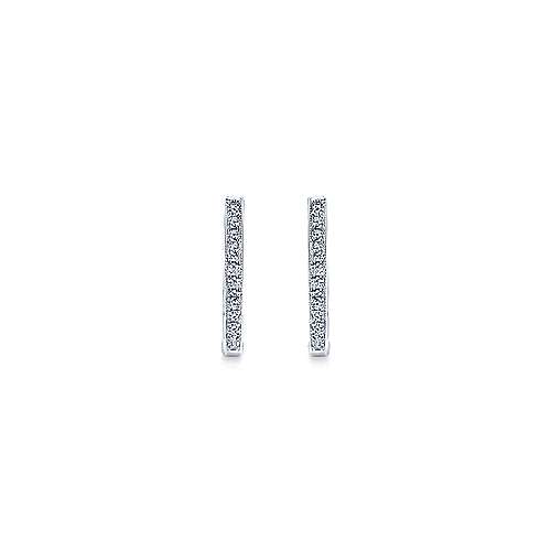 14K White Gold 20mm Slim Pave Diamond Huggie Earrings