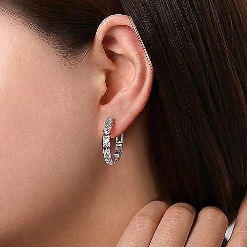 14K White Gold 25mm Diamond Station Hoop Earrings