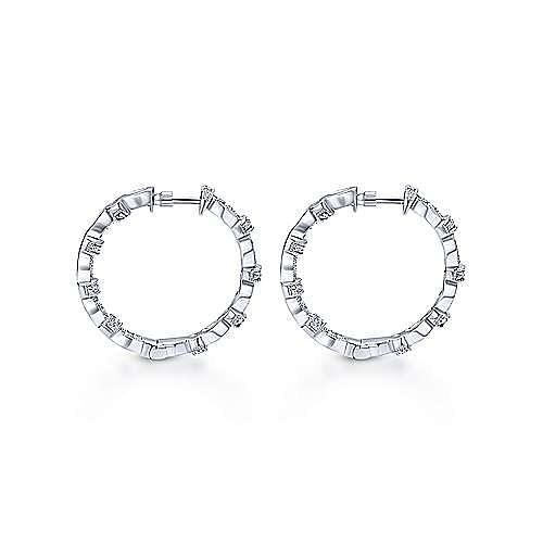 14K White Gold 25mm Round Classic Prong Set Diamond (.55ct) Hoop Earrings