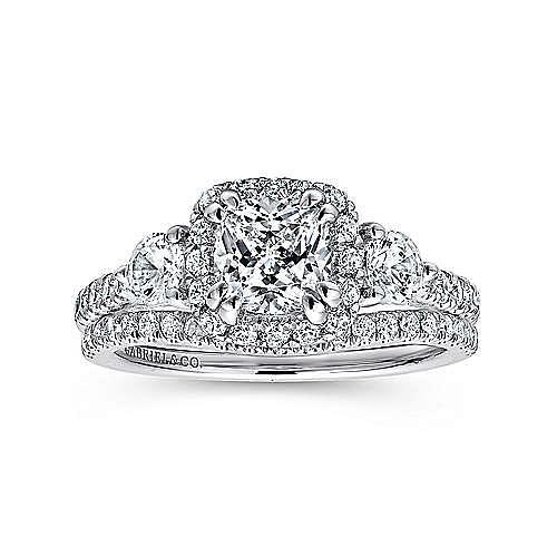14K White Gold 3 Stone Halo Diamond Engagement Ring
