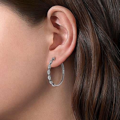14K White Gold 30MM Diamond Earrings