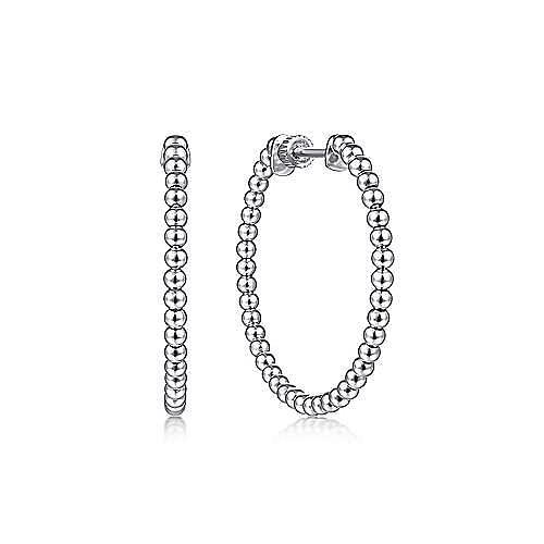 14K White Gold 30mm Bujukan Hoop Earrings