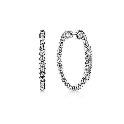 14K White Gold 30mm Classic Diamond Hoop Earrings
