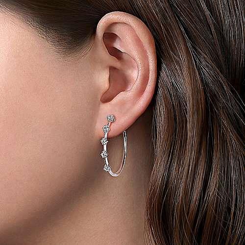 14K White Gold 30mm Diamond Hoop Earrings