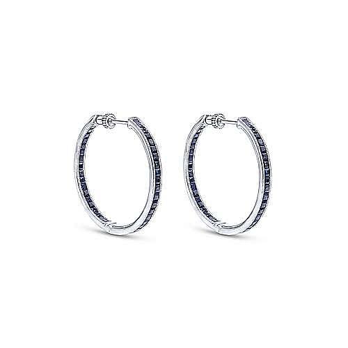 14K White Gold 30mm Inside Out Channel Set Sapphire Hoop Earrings