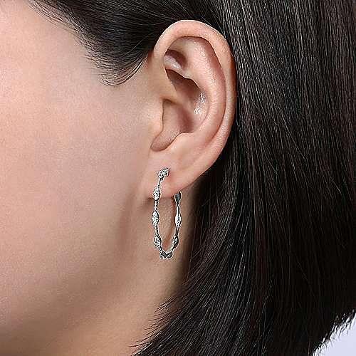 14K White Gold 30mm Round Classic Diamond Hoop Earrings