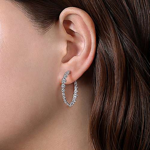 14K White Gold 30mm Round Classic Inside Out Diamond Hoop Earrings