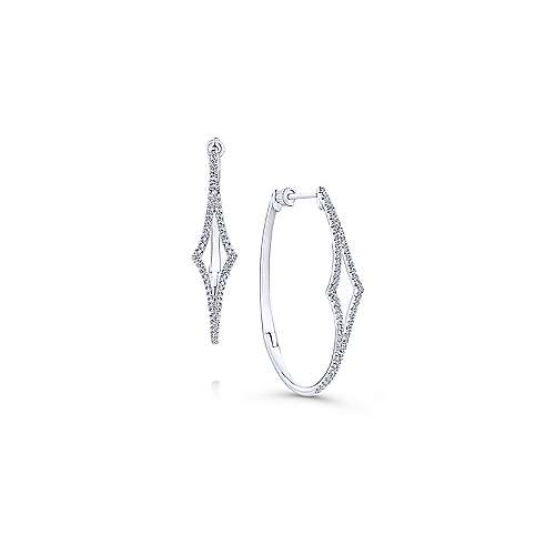 14K White Gold 35mm Diamond Hoop Earrings