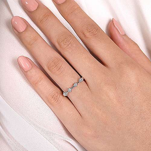 14K White Gold 4 Stone Stations Stackable Diamond Anniversary Band
