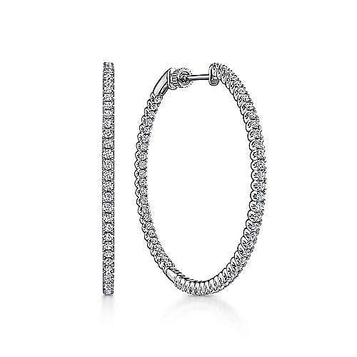14K White Gold 40MM Diamond Earrings