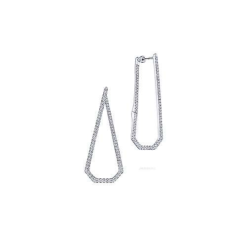 14K White Gold 40MM Fashion Earrings