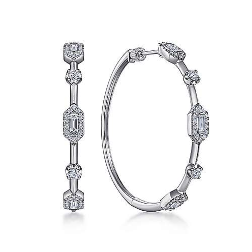 14K White Gold 40mm Diamond Baguette and Round Station Hoop Earrings