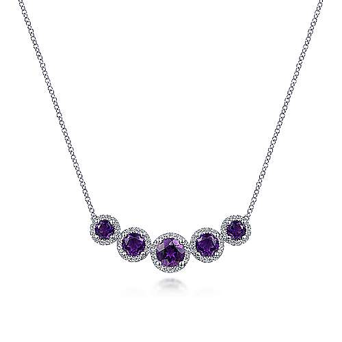 14K White Gold 5 Round Graduating Amethysts with Diamond Halo Necklace