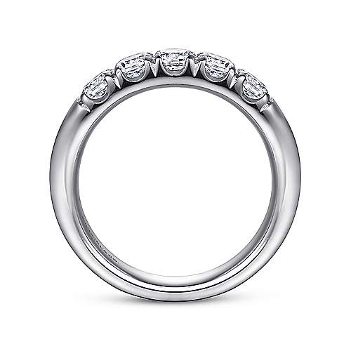 14K White Gold 5 Stone French Pavé Diamond Anniversary Band