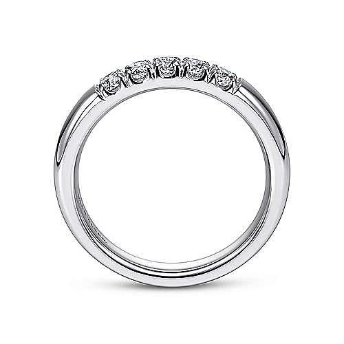 14K White Gold 5 Stone French Pavé Diamond Wedding Band