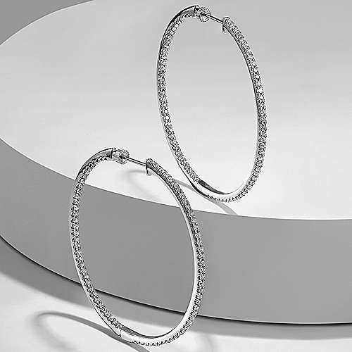 14K White Gold 50mm Large Hoop Diamond Earrings