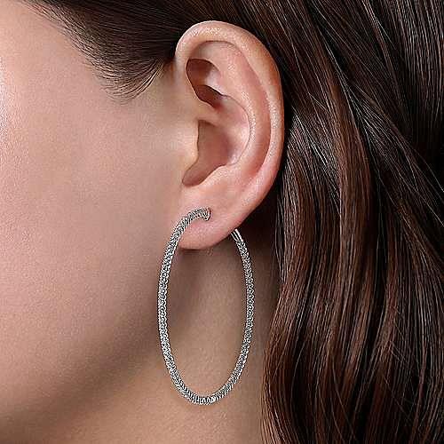 14K White Gold 60MM Diamond Earrings