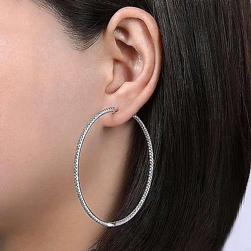 14K White Gold 60MM Fashion Earrings