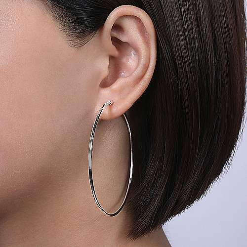 14K White Gold 60mm Round Classic Hoop Earrings